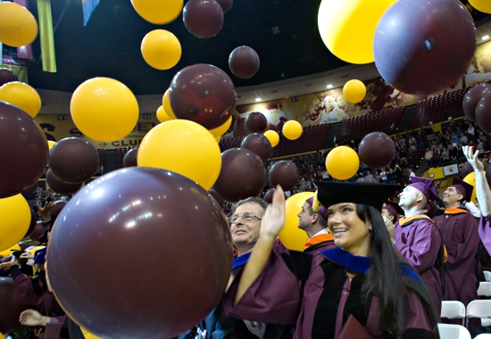 graduate students amongst ballons