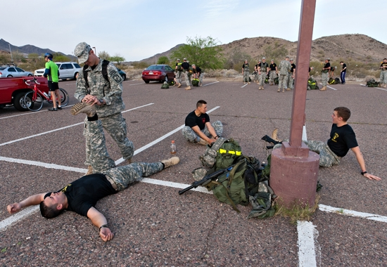 ROTC students stretching