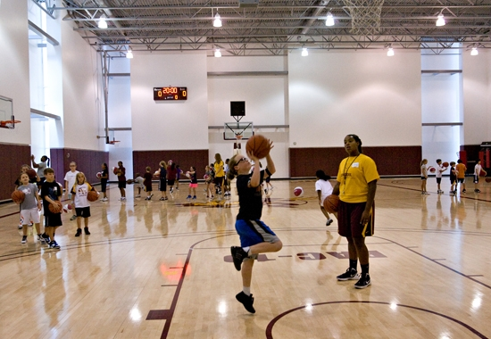 campers working on basketball drills