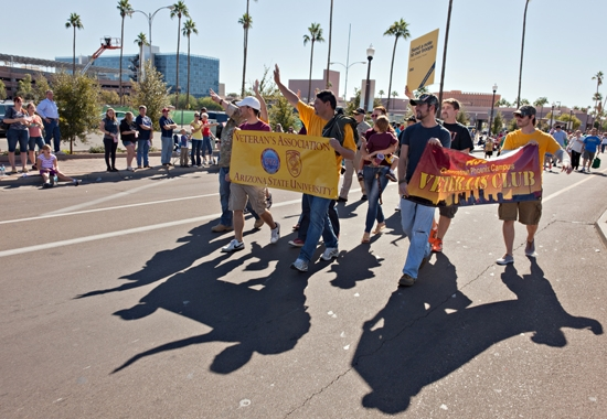 people marching in parade