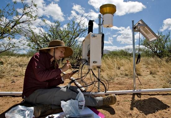 people hooking up soil sensors