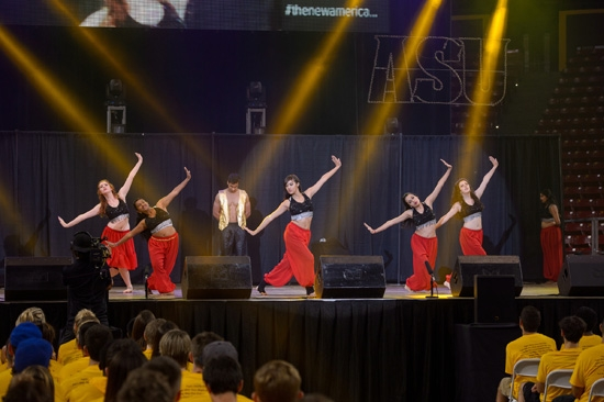 ASU Andaaz, a Bollywood-fustion dance team performs on stage