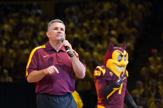 Coach Todd Graham and Sparky on stage