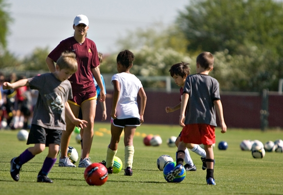 campers working on soccer drills