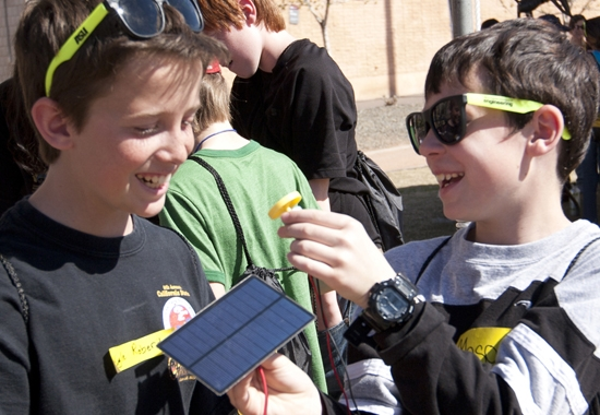 students testing solar-powered circuits