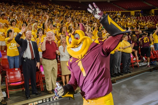 ASU Sparky mascot giving pitchfork sign
