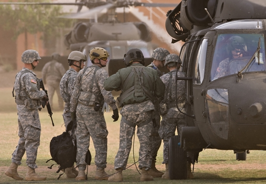 ROTC cadets boarding helicopter