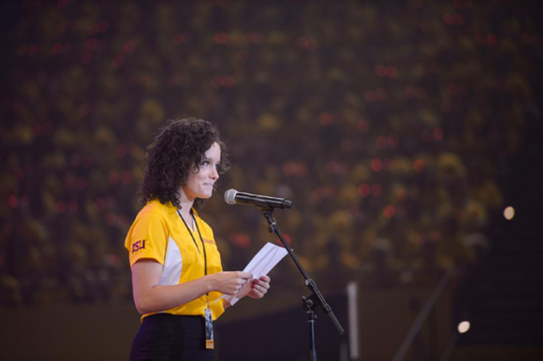 ASU's undergrad student body president speaks on stage