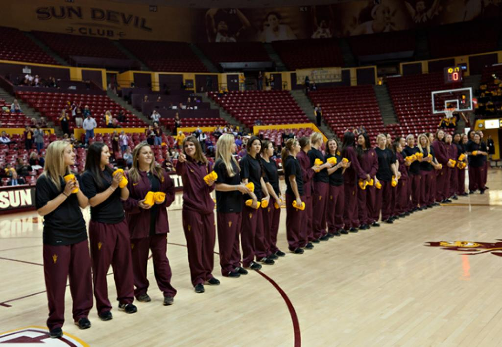 ASU softball team on basketball court