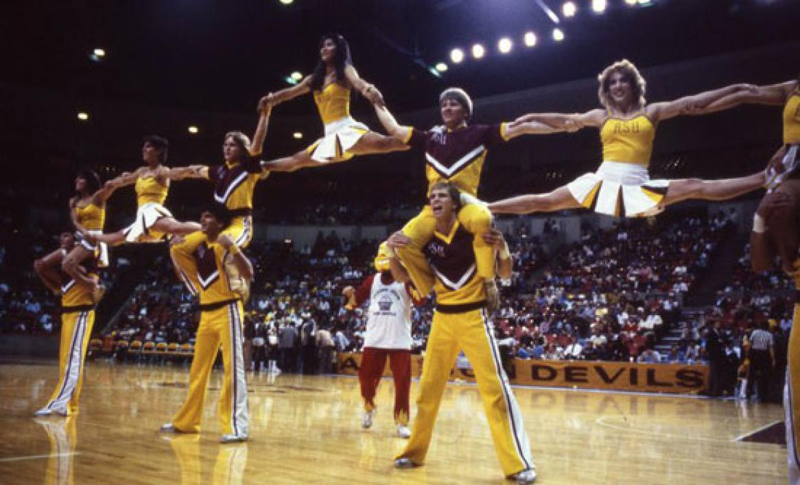 cheerleaders performing