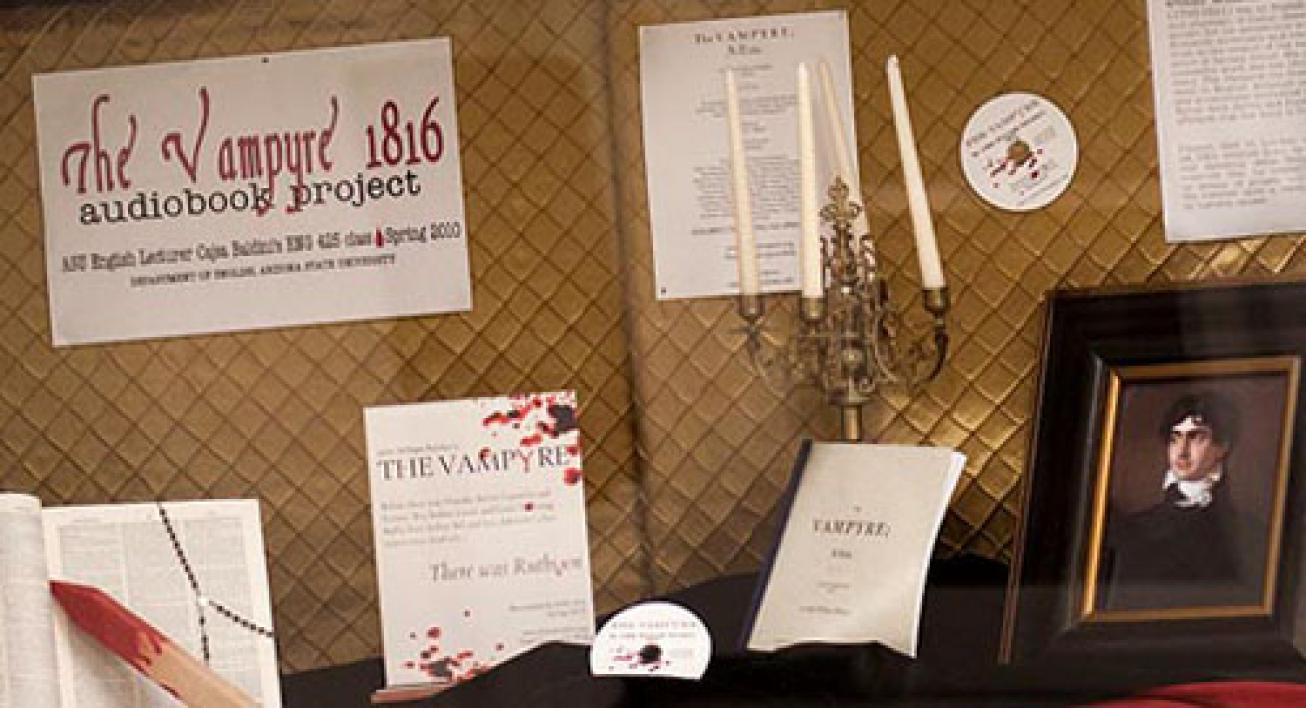 "Display with images about the 1816 book ""The Vampyre."""