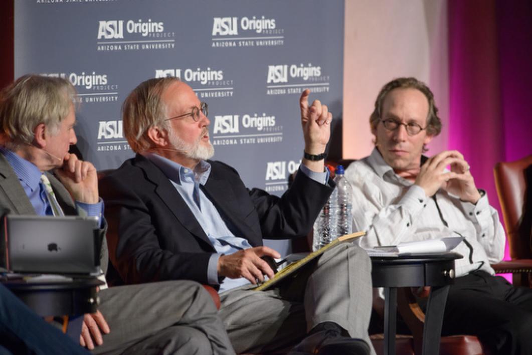 ASU professor Lawrence Krauss speaking on stage