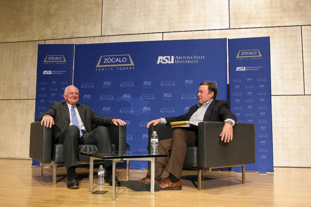 Former Intel CEO and President Craig Barrett talks with ASU President Michael Cr