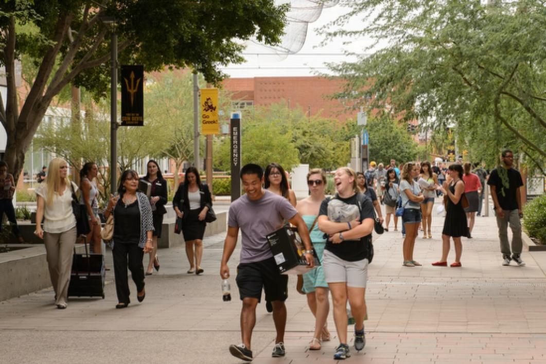 students walking on Downtown Phoenix campus
