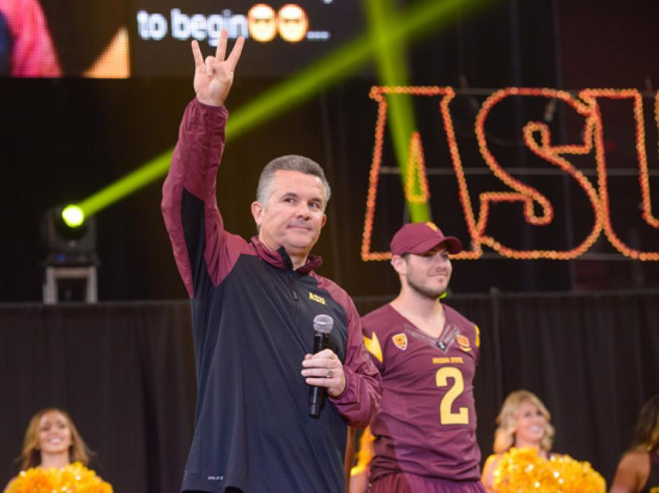 Sparky the Sun Devil dances on stage during Sun Devil Welcome