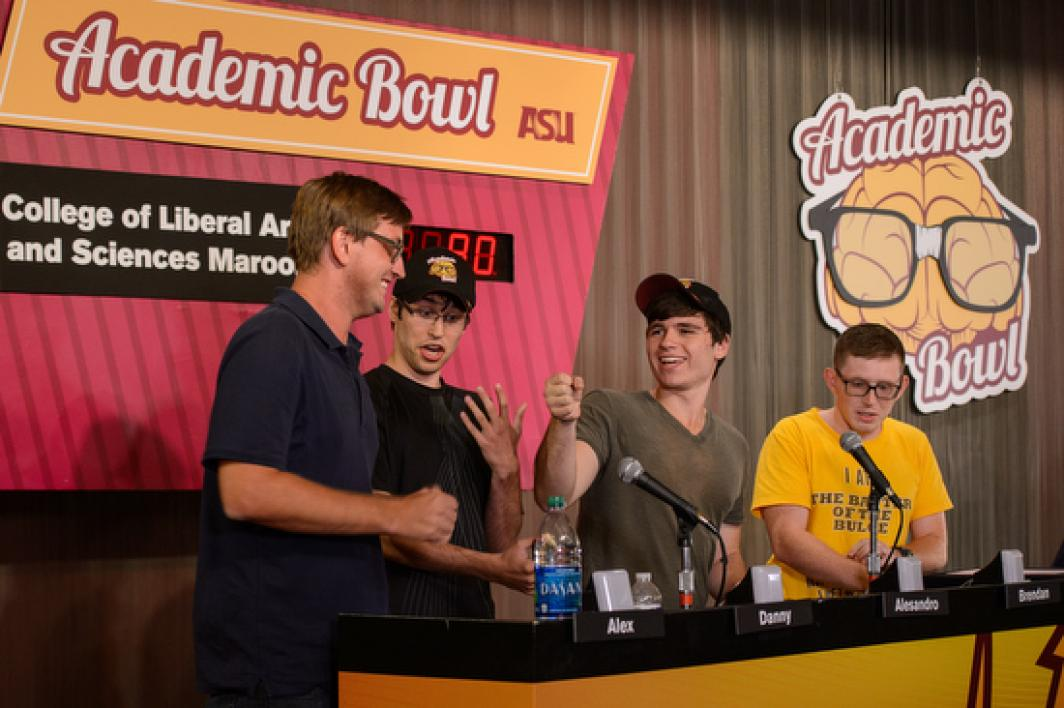 CLAS Maroon team on the Academic Bowl stage
