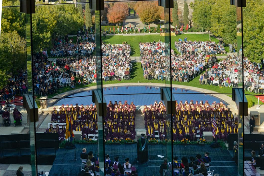 overhead view of graduates during convocation