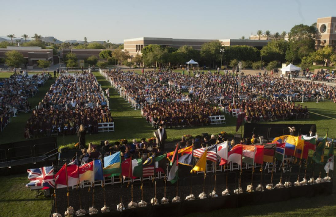 crowd of people on field for the ASU New College convocation