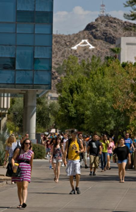 people walking on campus