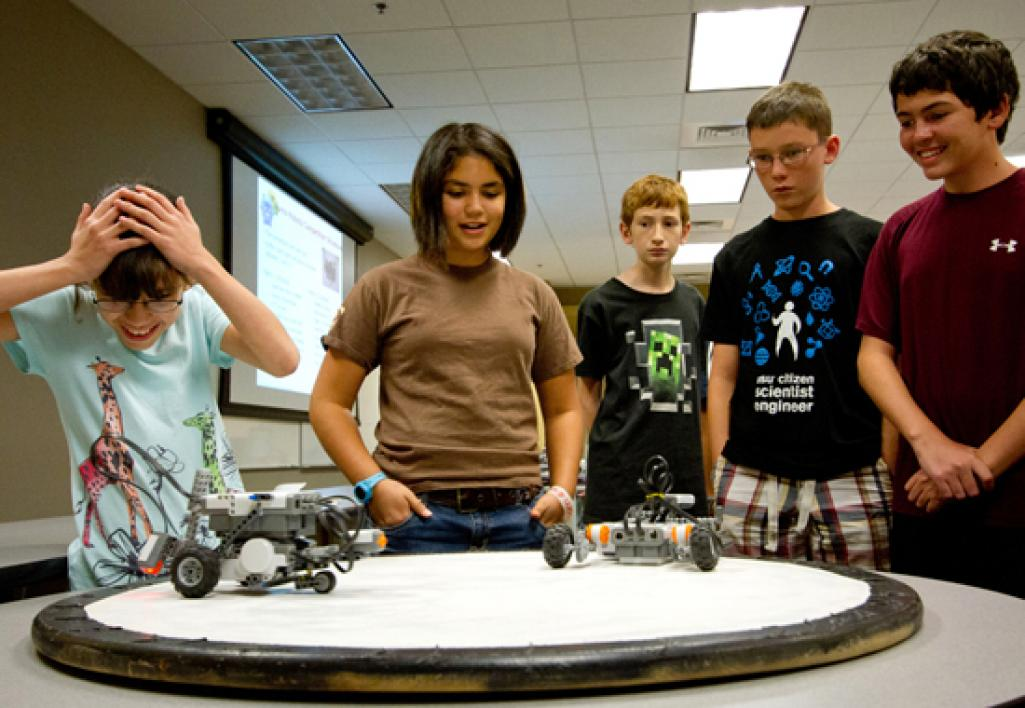 students testing robots