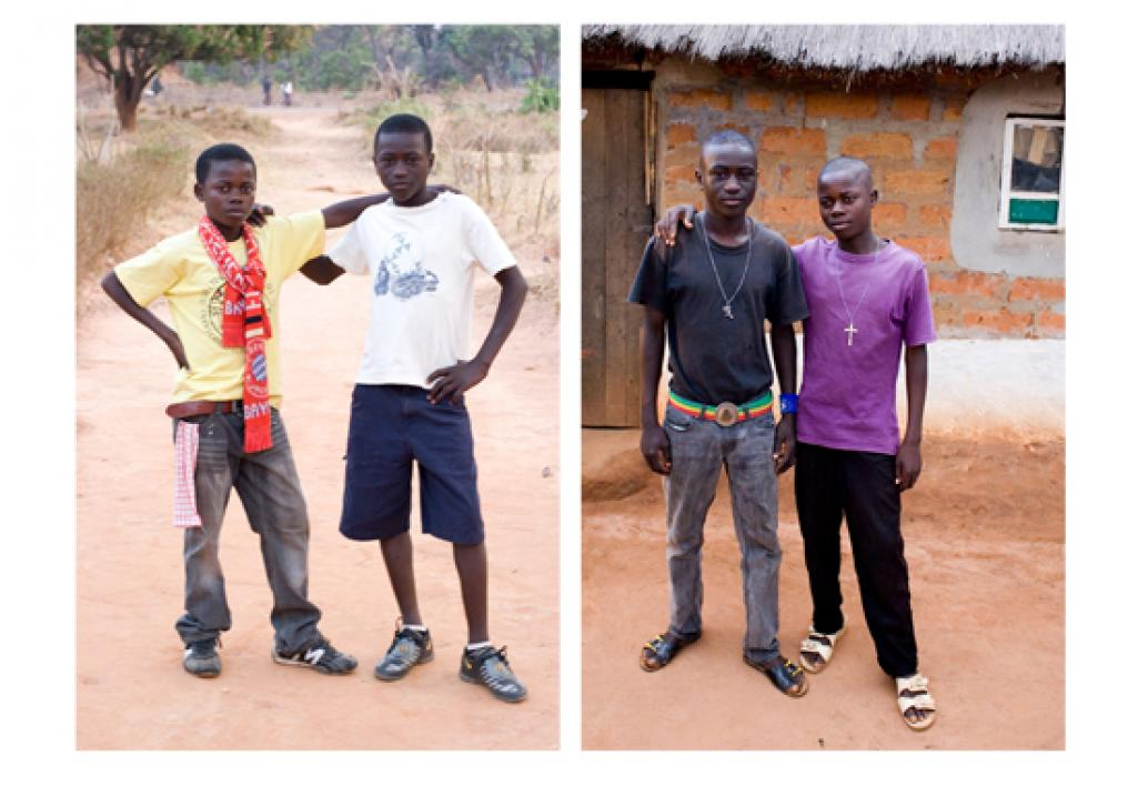 Two boys pose together in 2011, and again in 2013.