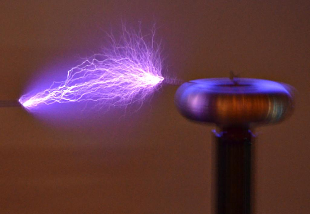 tesla coil lit up