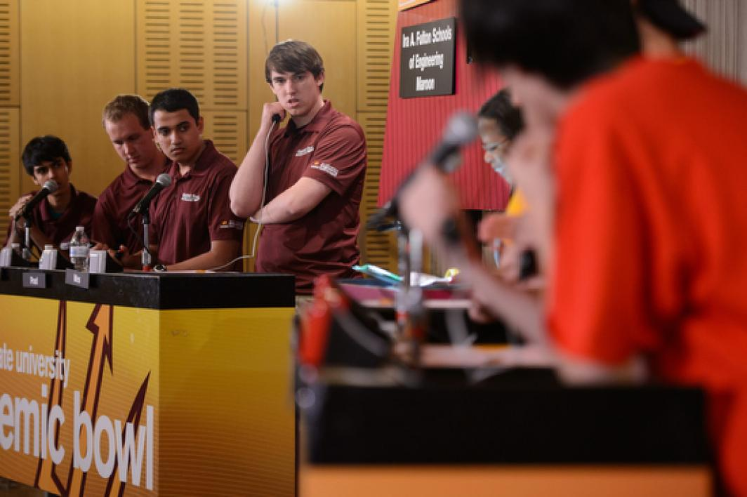 view of the Engineering Maroon team on the Academic Bowl stage