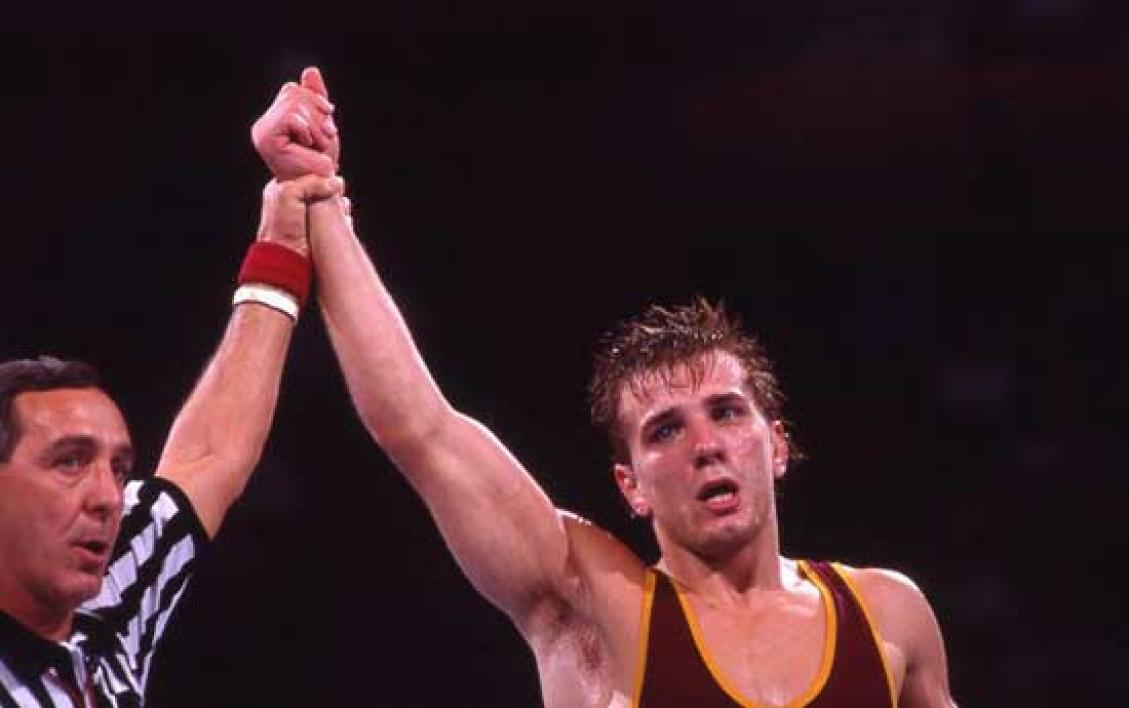Dan St. John winning wrestling match