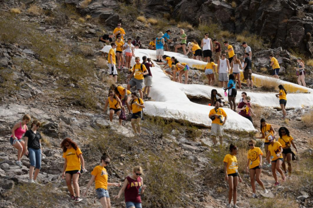 "the newly whitewashed ""A"" on Tempe Butte"