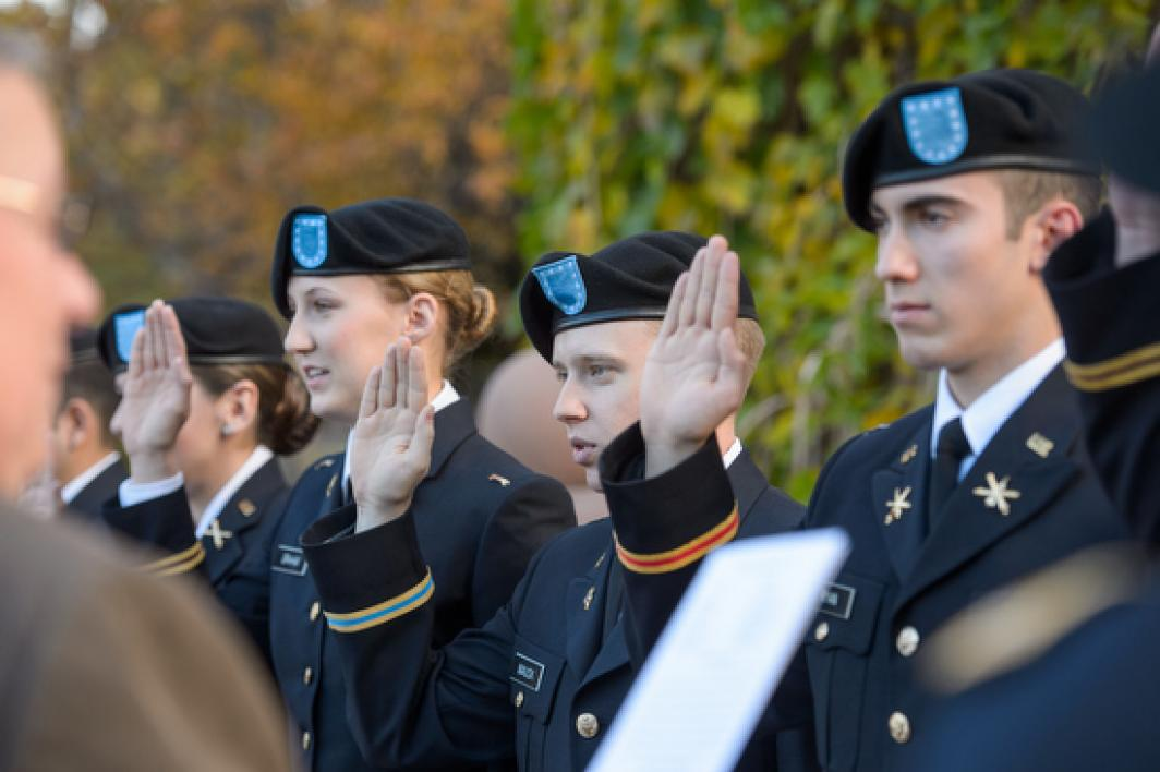 Army ROTC members taking oath