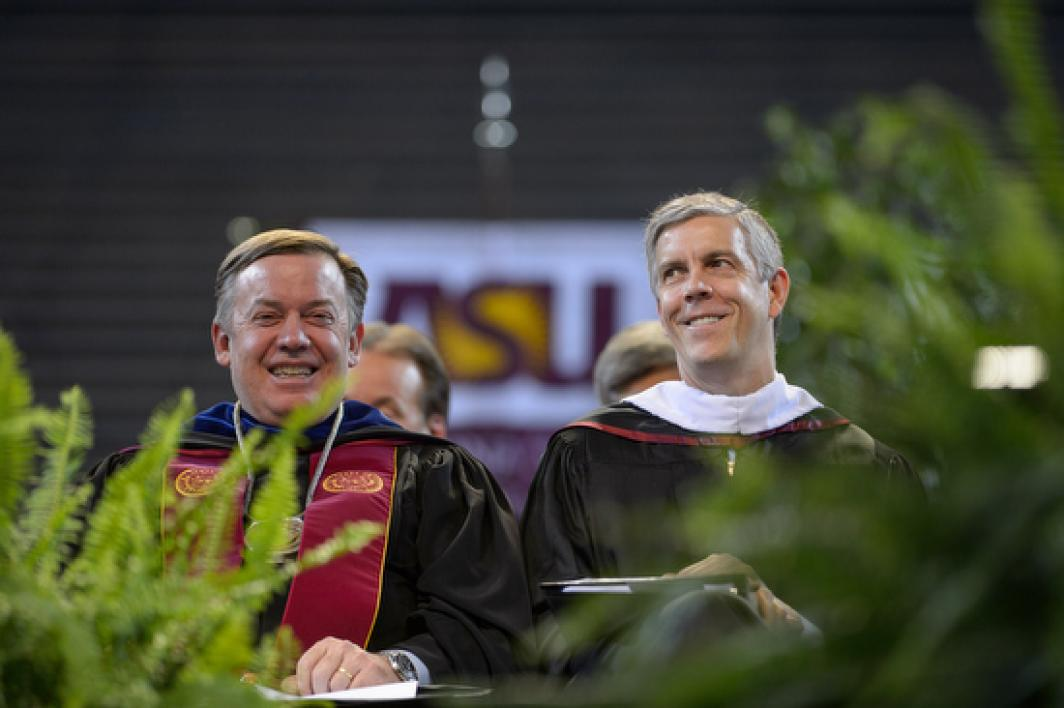 President Crow and Secretary Duncan at commencement