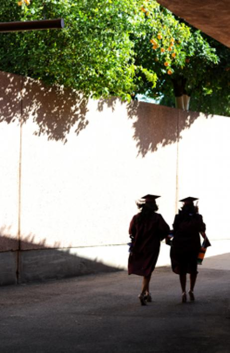 graduates walking to convocation