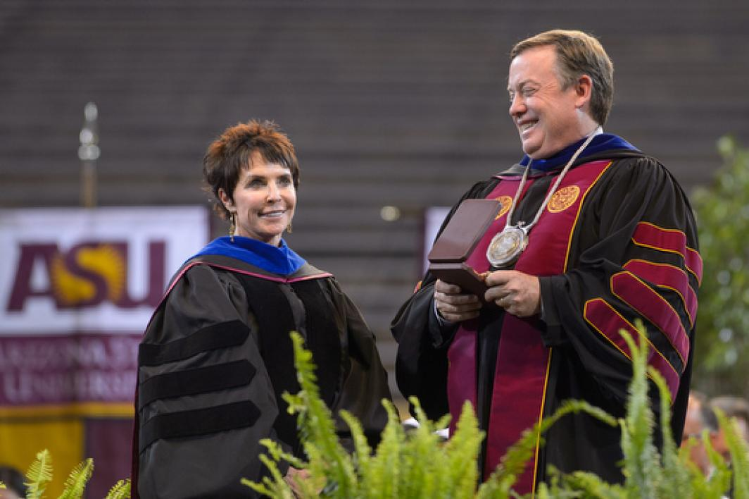 President Crow and Julie Ann Wrigley at commencement