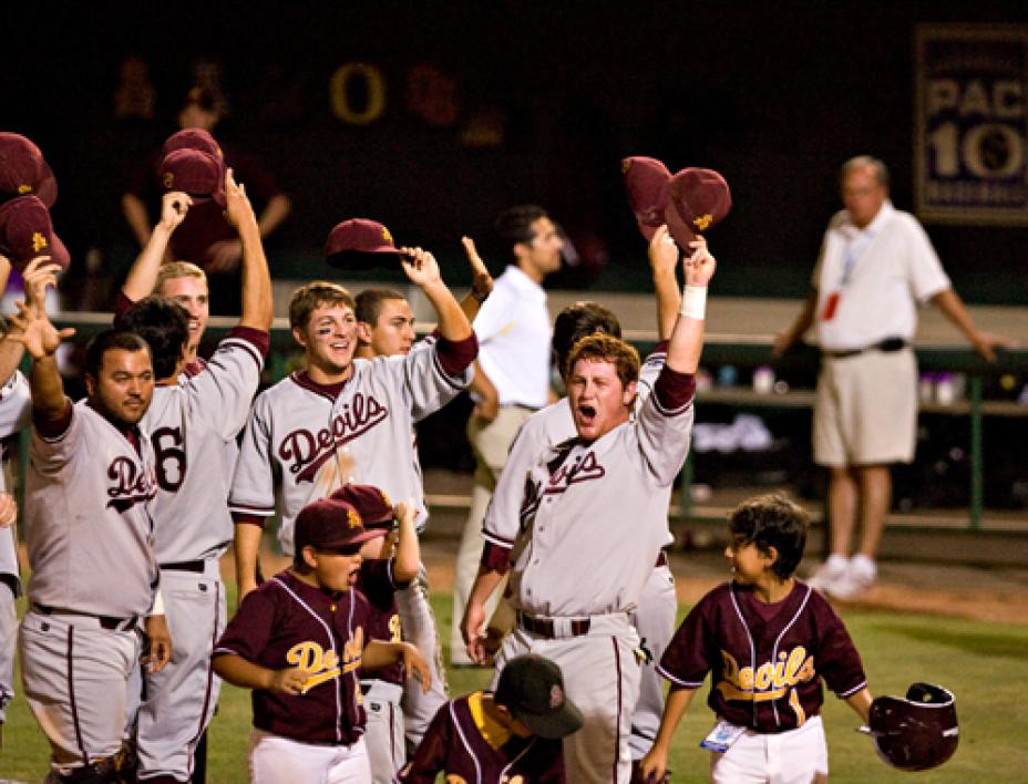 ASU baseball celebrates their Tempe Super Regional win.