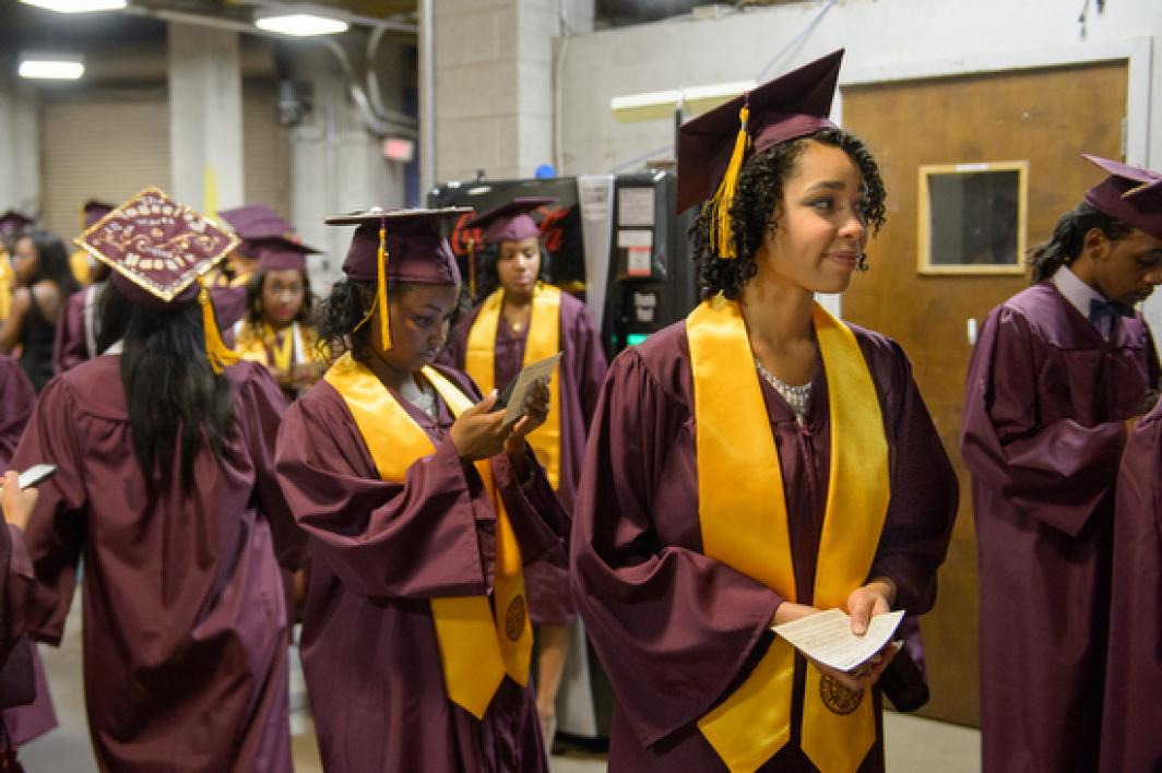 graduates lined up for ASU Black and African Convocation