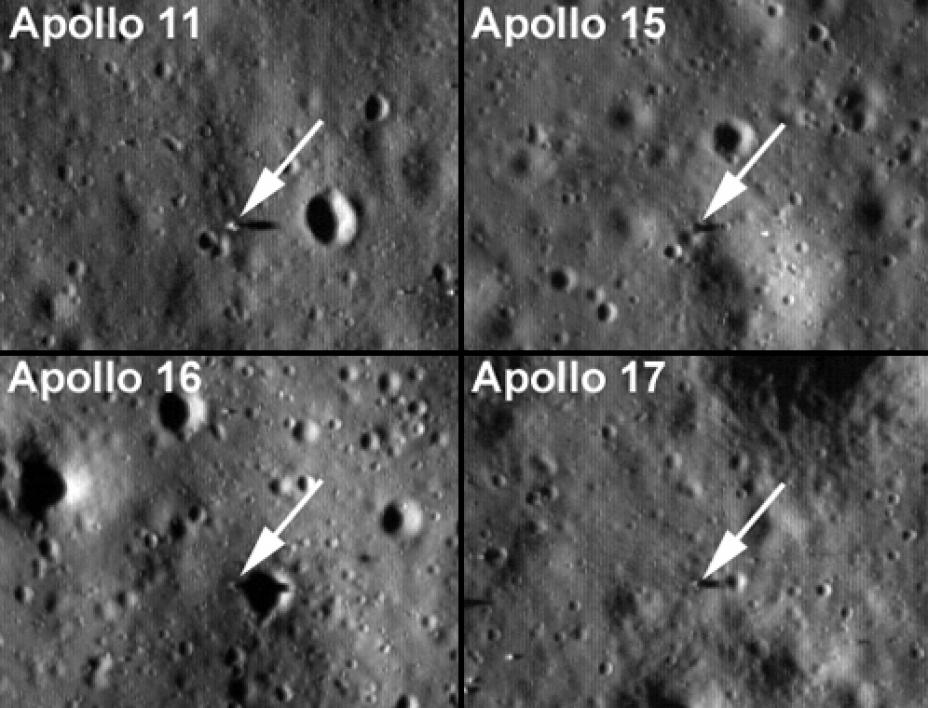 Apollo landing sites as captured by the LROC.