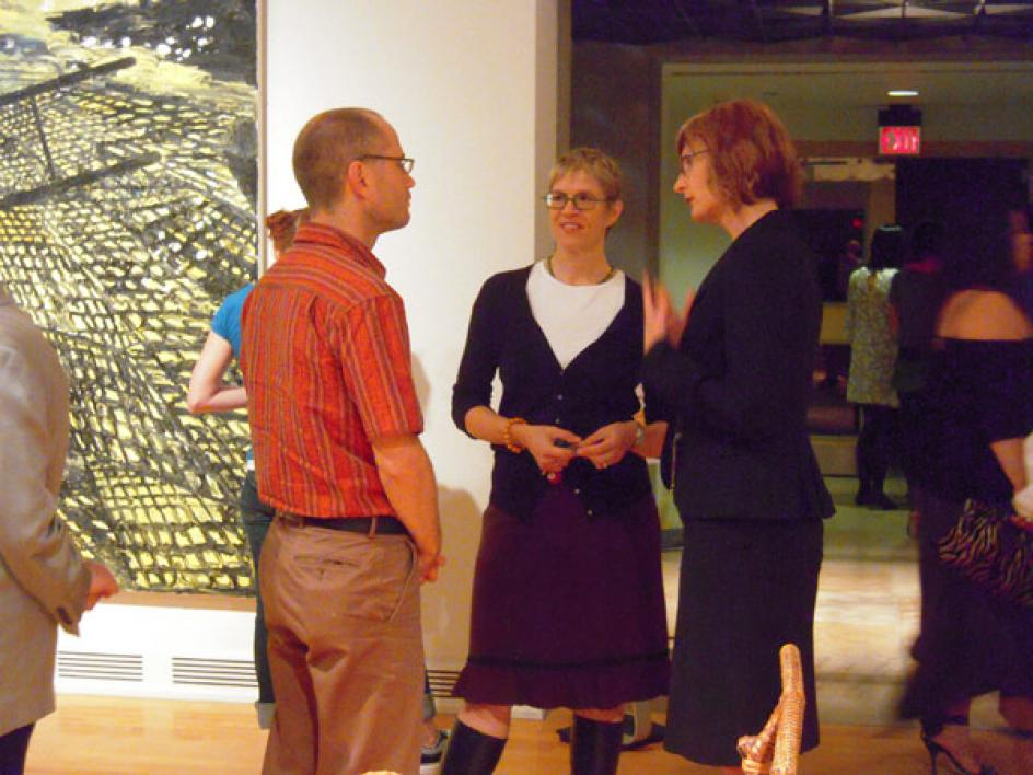 guests at the Defining Sustainability exhibition at ASU Art Museum's opening rec