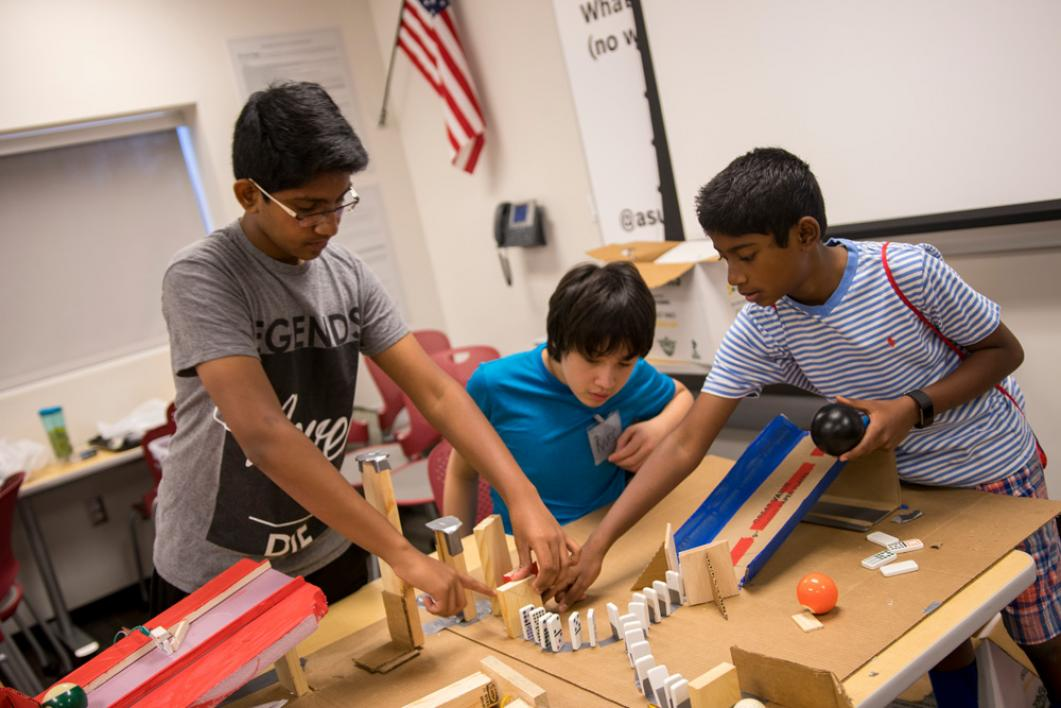 The Art of Invention: Chain-Reaction STEAM Machines for Middle Schoolers camp offered a project-based approach that emphasized brainstorming, problem solving, rapid prototyping, teamwork and communication.