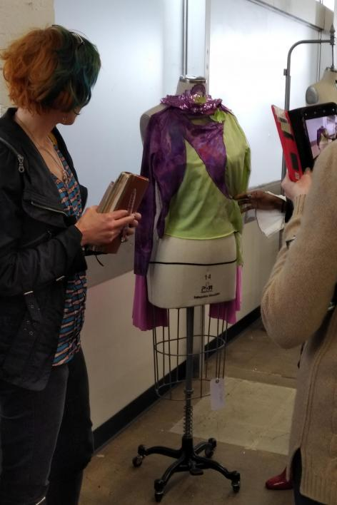 A designer in ASU's Fashion Lab shows the early stages of a Power Play costume