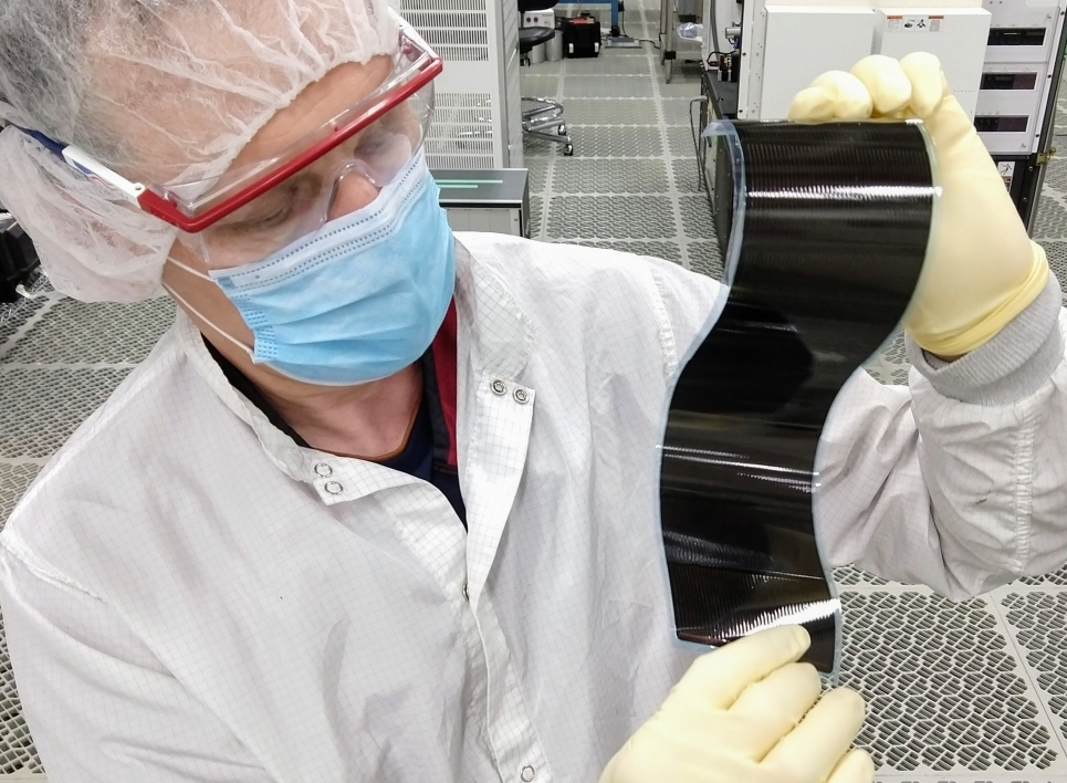 A prototype ultra-thin silicon solar panel developed by Regher Solar.