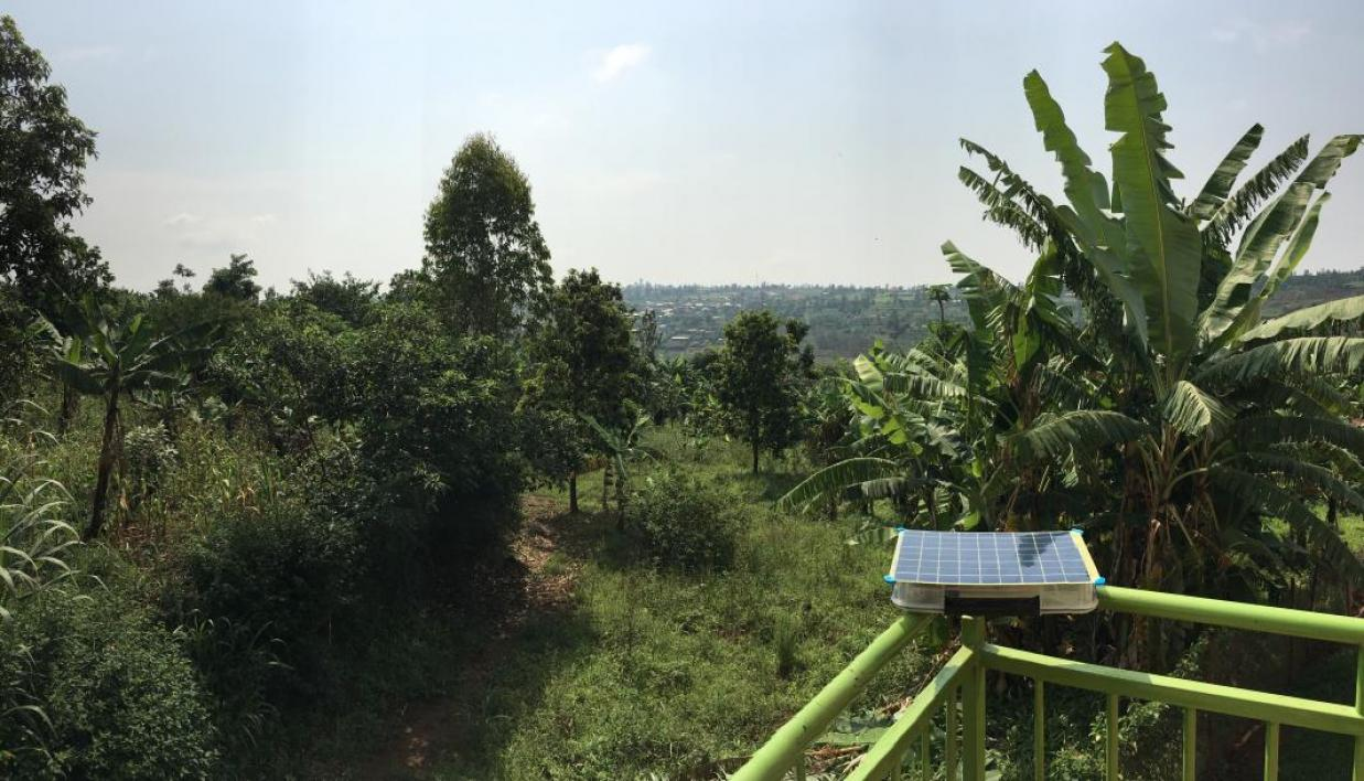 A SolarSPELL device recharges in the sun in Rwanda.
