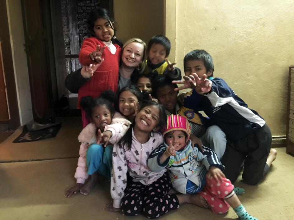 McDermott with children from the Nepalese orphanage