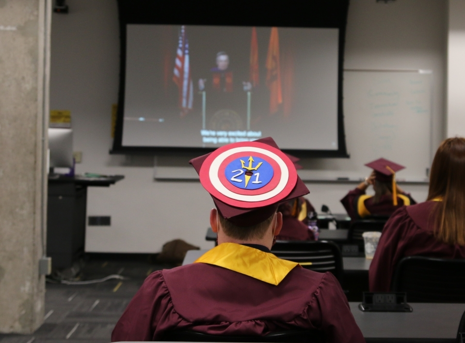 Students, President, Michael Crow, Arizona State University, Watts College of Public Service and Community Solutions, convocation, spring 2021