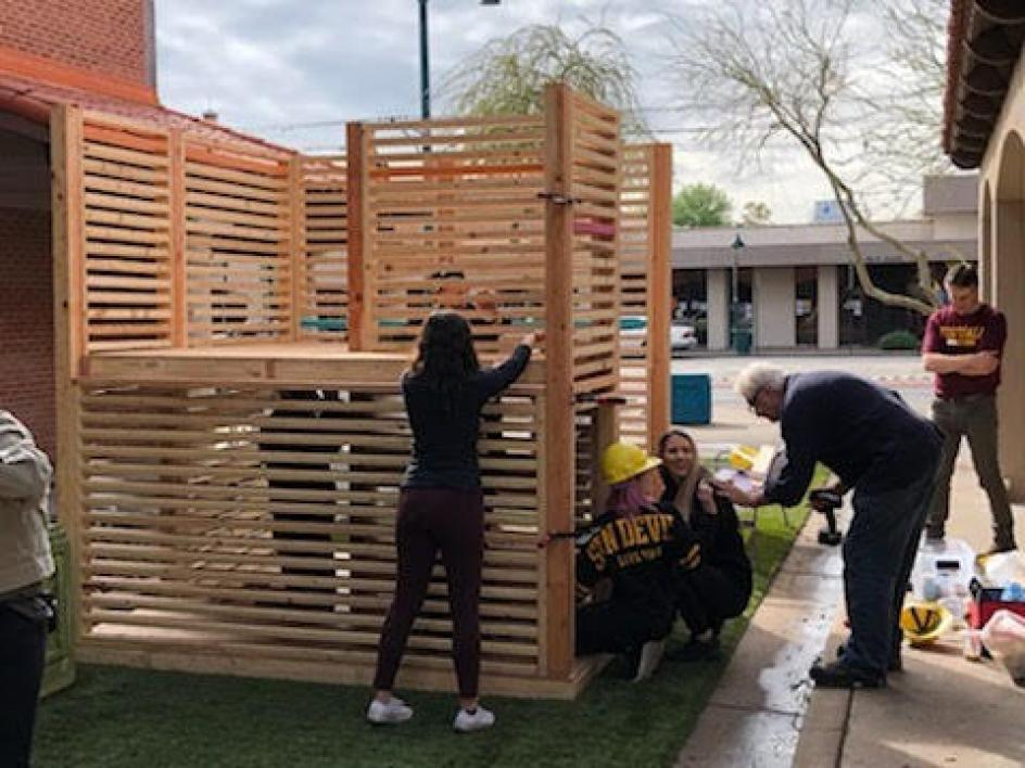 ASU students set up the Inter PLAY installation at the Prototyping Festival in downtown Mesa