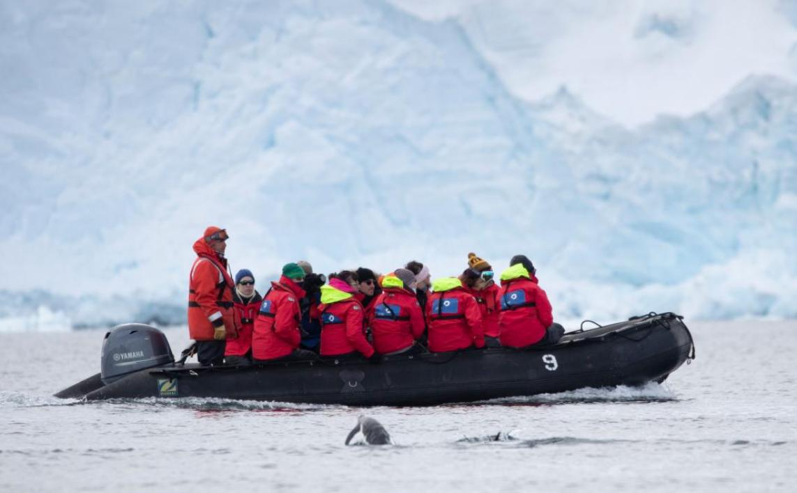 Group of ASU students on a zodiac boat in Antarctica