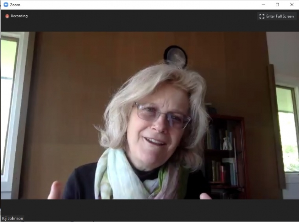author Kij Johnson speaking in a Zoom meeting