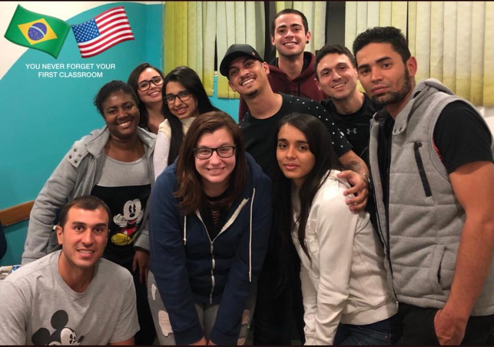 ASU Online student, Jordan Husk, with her students in Brazil on the last day of classes
