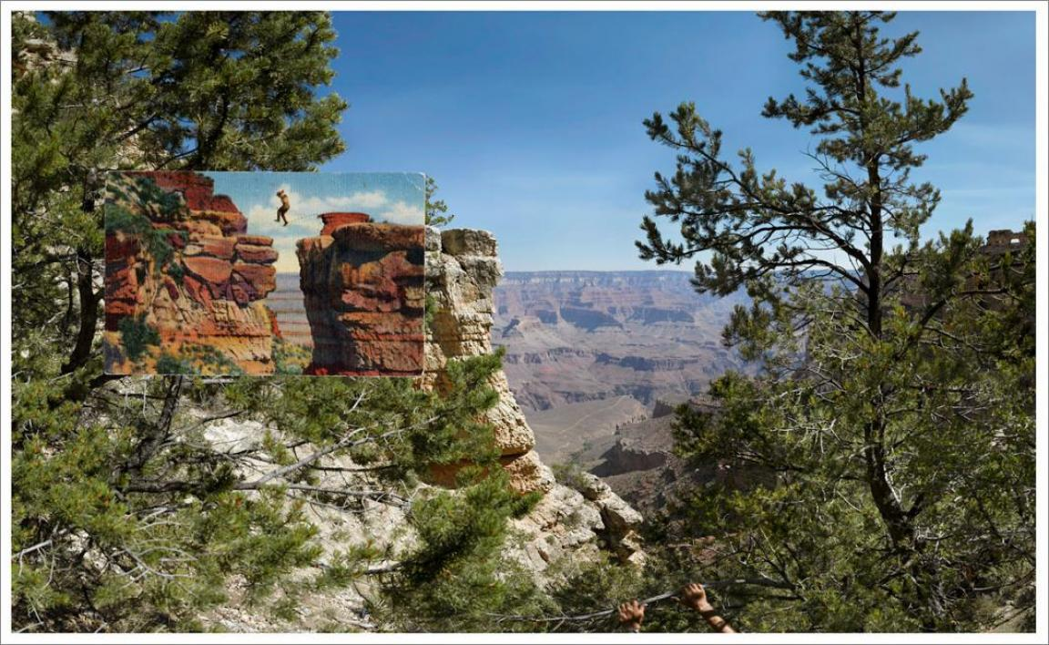 A vintage postcard overlaid on a modern photo of the Grand Canyon