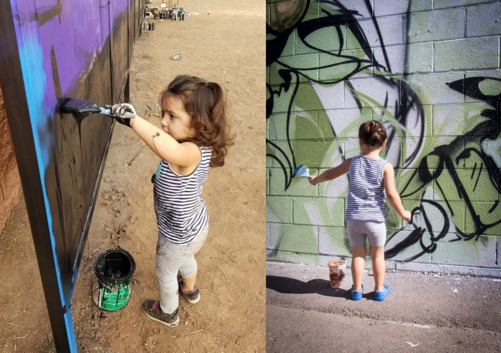 Kira's daughter, Teagan painting a mural