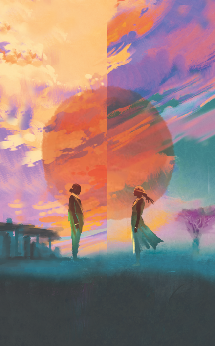 Two people in profile standing facing one another with a sunset in the background.